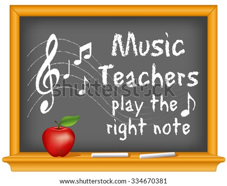 Music teachers play the right note, chalk text with music notes, treble clef on staff, wood frame blackboard with sticks of chalk and apple.  - stock photo