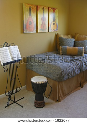 Music themed bedroom inside a home interior - stock photo
