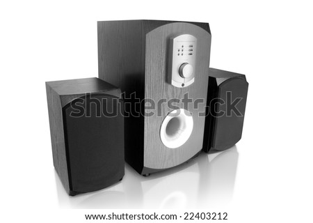 music. three computer speakers isolated on white - stock photo