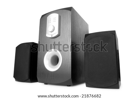 music. three speakers isolated on white - stock photo