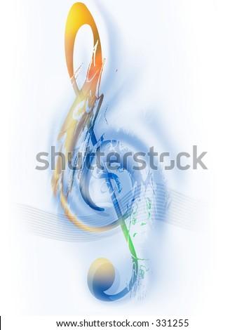 Music - Treble Clef - Digital Art - stock photo