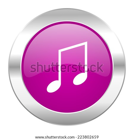 music violet circle chrome web icon isolated