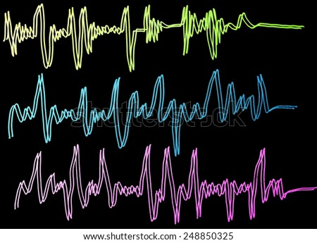 music wave cardiogram, three colored lines  - stock photo