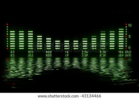 music waveform with reflection - stock photo
