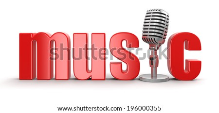 Music with Microphone (clipping path included) - stock photo