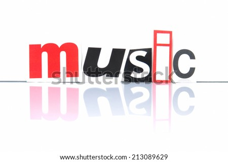 Music with newspaper letters  - stock photo