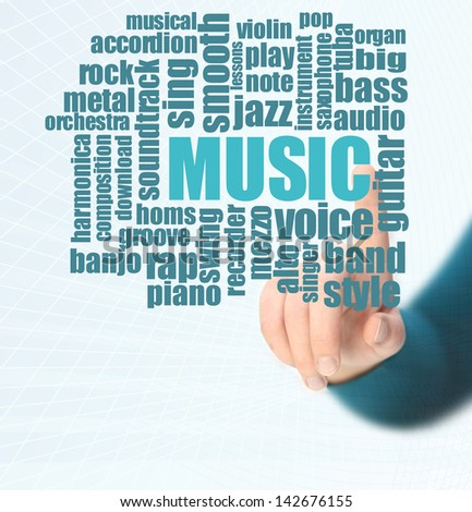 music word cloud - stock photo
