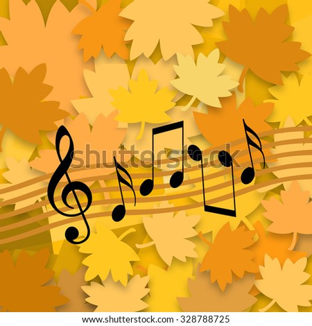 Musical autumn, yellow leaves and random musical symbols - stock photo