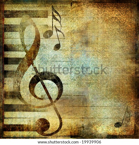 musical background in grunge style with place for text - stock photo