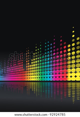 musical background with multicolored lines - stock photo