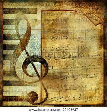 musical background with note page - stock photo