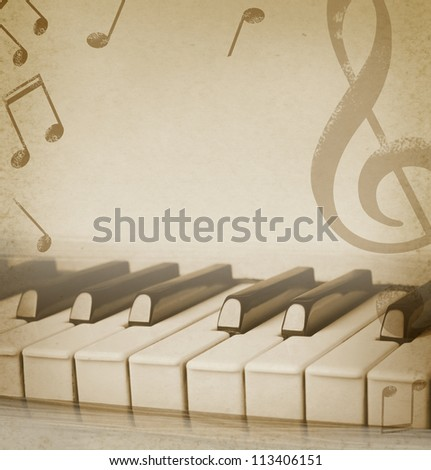 musical background with piano and musical notes - stock photo