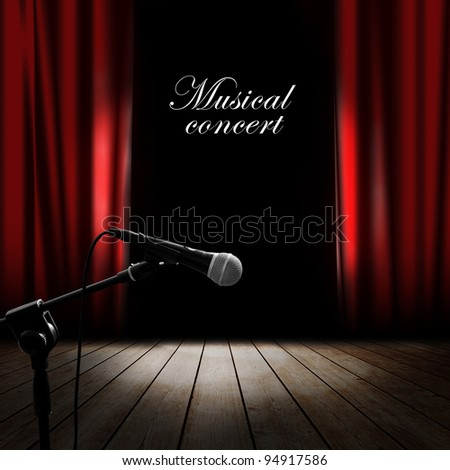 Musical background with red curtain - stock photo