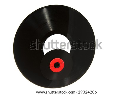 musical disk, issued how vinyl  and vinyl plate - stock photo
