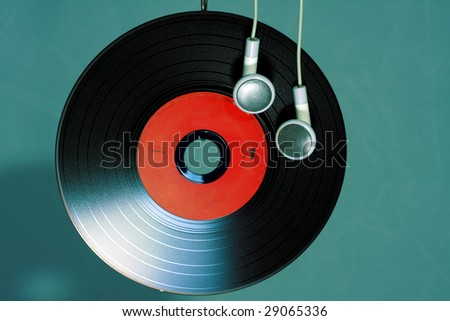 musical disk, issued how vinyl plate - stock photo