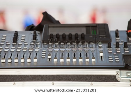 musical equipment for stage sound on concert - stock photo