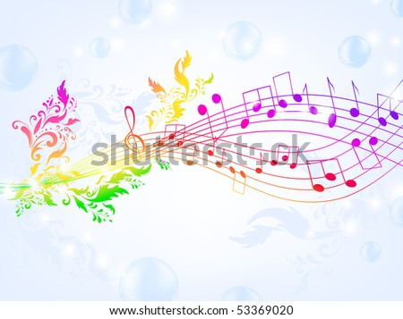 musical fantasy theme with bright rainbow notes and air bubble background - stock photo
