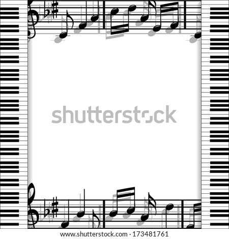 Musical frame - stock photo