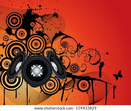 Musical grunge background - stock photo