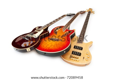 Musical guitar isolated on the white background - stock photo
