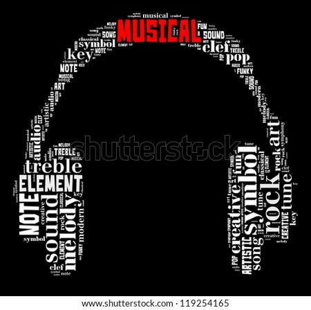 Musical info-text graphic and arrangement concept composed in headphone shape on black background (word cloud) - stock photo