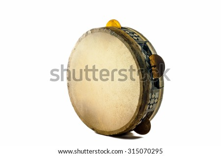 Musical instrument - Egyptian tambourine made of camel skin - stock photo