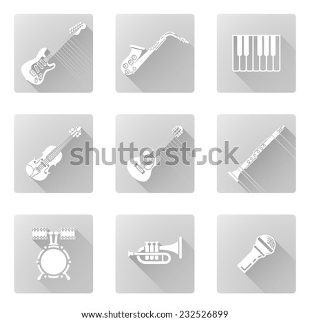 Musical instrument music icons including ones for clarinet, sax, trumpet and many more - stock photo