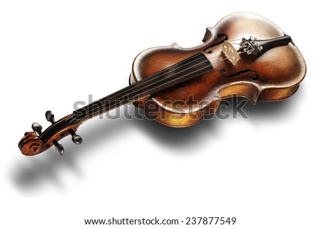 Musical instrument, old violin on a white background - stock photo