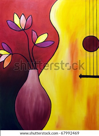 Musical instrument - original oil painting of the bass. I'm the author of this painting. - stock photo
