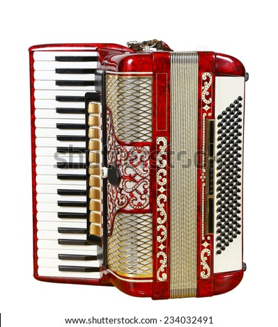 musical instrument red accordion, outdated device - stock photo