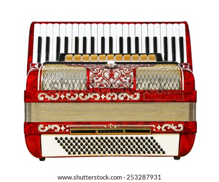 musical instrument red accordion, outdated device, white background - stock photo