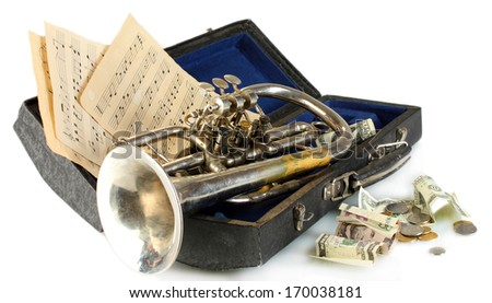 musical instrument with money on gray background