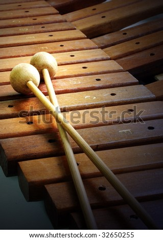 musical instrument -- wooden xylophone - stock photo