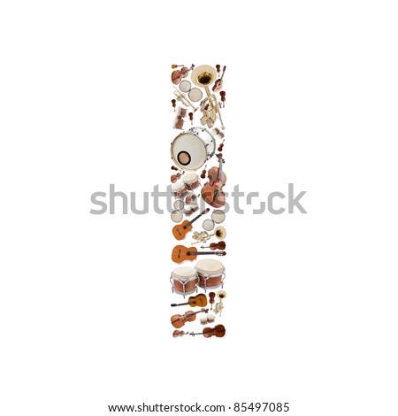 Musical instruments alphabet on white background. Letter I - stock photo