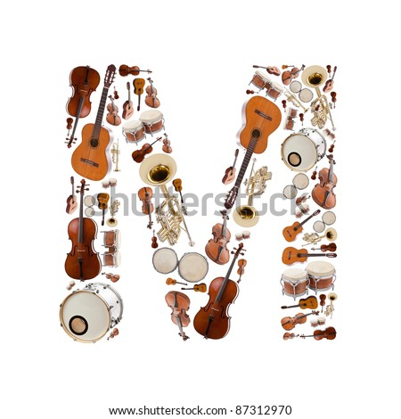 Musical instruments alphabet on white background. Letter M - stock photo