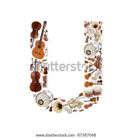 Musical instruments alphabet on white background. Letter U - stock photo