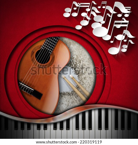 Musical Instruments Background / Red velvet background with white musical notes, acoustic guitar, piano keyboard and snare drum with drumsticks. Concept of music performance - stock photo