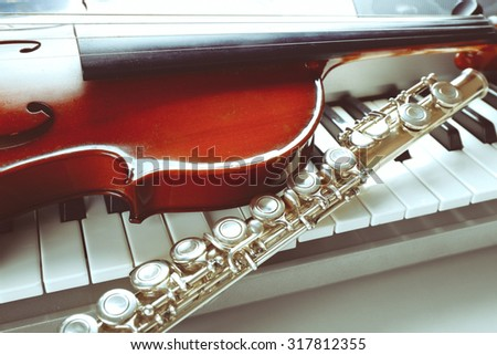 Musical instruments close up - stock photo