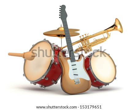 Musical instruments. Guitar, drums and trumpet. 3d - stock photo