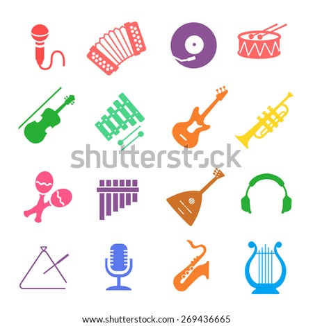 Musical instruments icon   colored set - stock photo