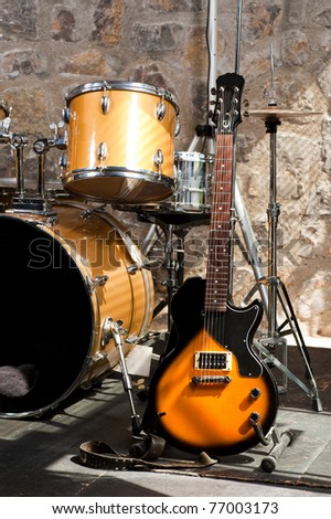Musical instruments on stage, ready for the gig - stock photo