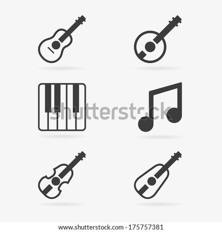 Musical Instruments Symbol Icons Stock Illustration 175757381