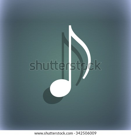 musical note, music, ringtone icon symbol on the blue-green abstract background with shadow and space for your text. illustration - stock photo