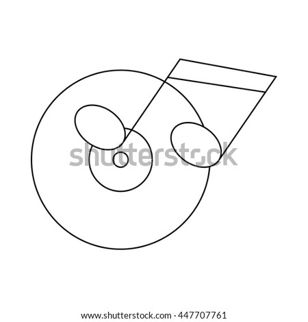 Musical notes and cd disk icon in outline style on a white background - stock photo