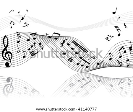 Musical notes background with lines