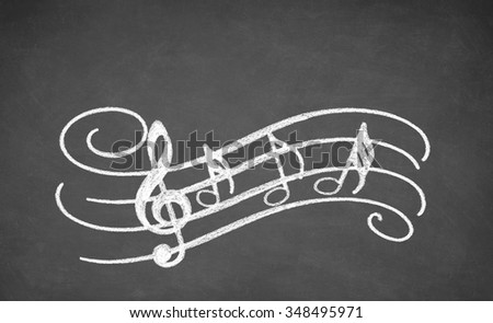 Musical notes - made with white chalk on a blackboard