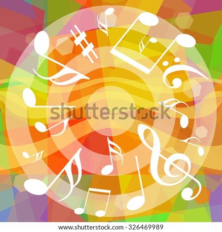 Musical notes on bright colorful background - stock photo