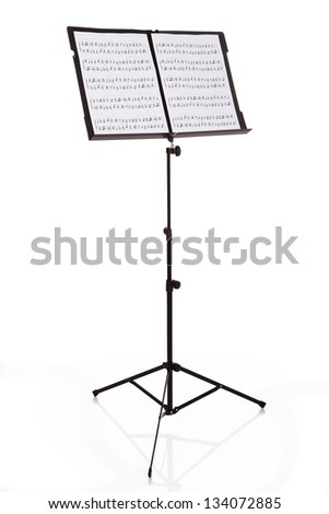 Musical Notes On Stand Over White Background - stock photo