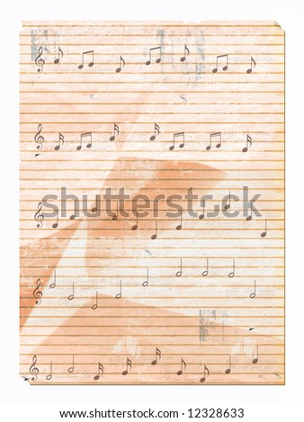musical notes on wrinkled paper
