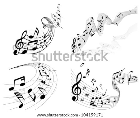 Musical notes staff background set for design use - stock photo